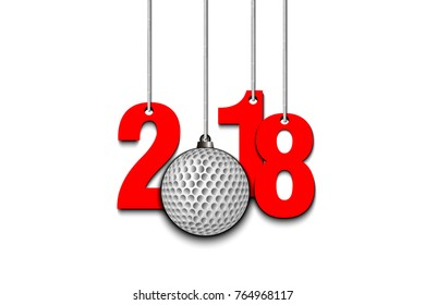 New Year numbers 2018 and golf ball as a Christmas decorations hanging on strings. Vector illustration