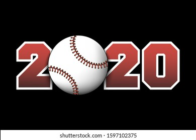 New Year numbers 2020 and baseball ball on an isolated background. Creative design pattern for greeting card, banner, poster, flyer, party invitation, calendar. Vector illustration