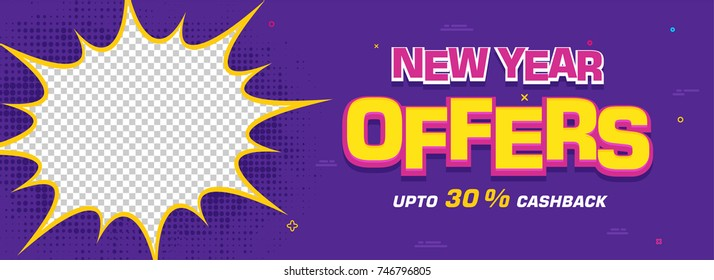New Year offer social media banner in pop art style with halftone effect.