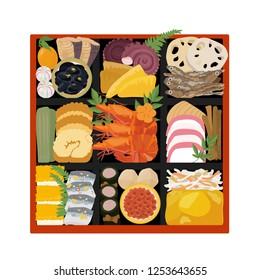 New Year / Osechi Cuisine / Illustration / Japanese Cuisine