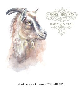 New year painting goat with horns, hand-drawing, the new year simbol of 2015. Vector illustration.