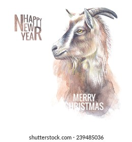 New year painting goat with horns, hand-drawing, the new year symbol of 2015. Vector illustration.