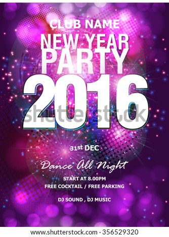 new year party backgrounds design flyer banner or pamphlet for happy new years 2016