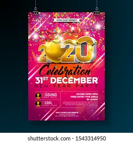 New Year Party Celebration Poster Template illustration with 3d 2020 Number and Falling Colorful Confetti on Red Background. Vector Holiday Premium Invitation Flyer or Promo Banner.