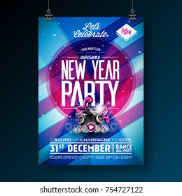 New Year Party Celebration Poster Template Illustration with Typography Design and Speaker on Shiny Colorful Background. Vector EPS 10 design