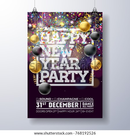 new year party celebration poster template stock vector royalty