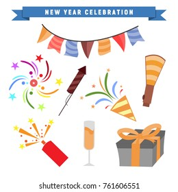 New Year Party Celebration Vector Graphic Illustration Design