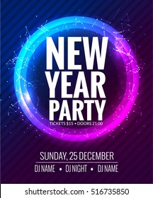 New year party and Christmas party poster template design. Disco night banner flyer. New year Holiday celebration invitation.
