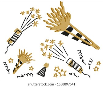 New Year party clipart with noisemakers and confetti cannons, hat with stripes and pom pom decoration, swirls, spiral throws clipart.  Black and gold hand drawn clip art vector images for invitations.