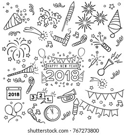 New year party doodle elements in black isolated over white background