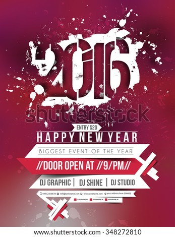 new year party flyer poster template design