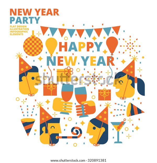 Happy New Year Flat Design 63