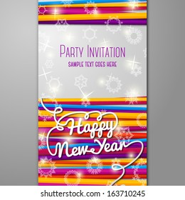 New Year Party invitation with bright laces on black background with snowflakes. With place for your text. Vector