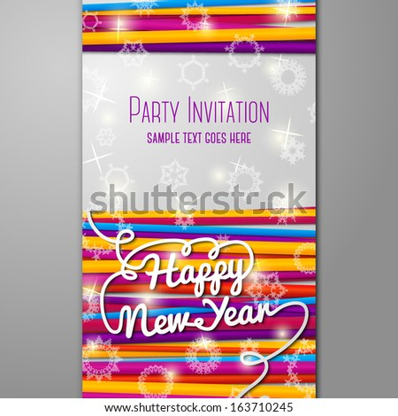 new year party invitation with bright laces on black background with snowflakes with place for