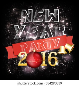 new year party invitation card vector illustration