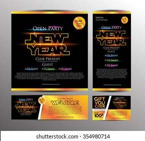 New Year Party Invitation Card, Golden Ticket and Gift Voucher with Space War Theme. Design Template. Vector Illustration