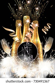 new year party invitation card with bottles of champagne glasses and sparklers vector illustration