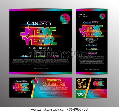 new year party invitation card golden ticket and gift voucher with space war theme