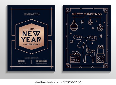 New Year party invitation cards with rose gold geometric design and navy blue background. Vector illustration