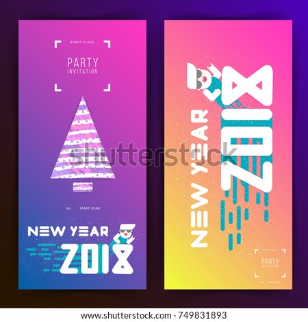 new year party invitation with huge 2018 numbers and cristmas tree minimalism
