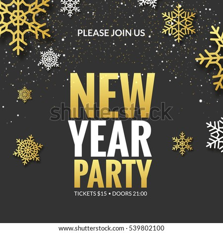 new year party invitation poster design retro gold typography and ornament decoration illustration xmas