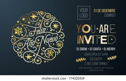 new year party invitation for spanish feliz ano nuevo holiday event celebration desing template vector
