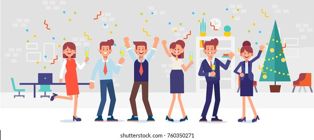 New year party in office. Business team celebrate. Cartoon style, flat vector illustration.