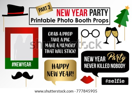 new year party photo booth props fun party printable masks moustache hat