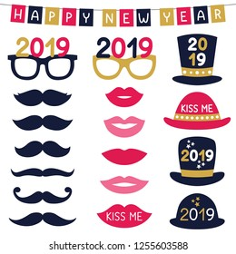 New Year party vector photo booth props (hats, eyeglasses, lips, mustaches)