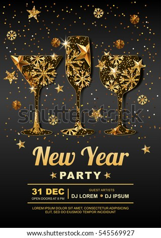 new year party vector poster design template golden stars snowflakes in gold wine