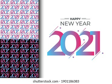 New year pattern with decoration. 2021 numbers pattern. Fun and happy cartoon for Christmas and winter holiday background, party flyers. Vector illustration. Eps 10