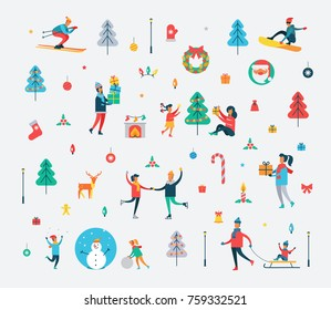 New Year pattern of happy people, Christmas tree, sweet cane, funny snowman, Polar deer, decorative toys and Santa Claus vector illustration.