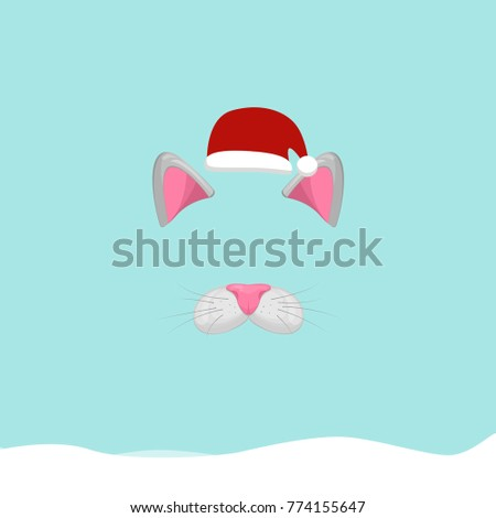 New Year Photo Booth Props Animal Stock Vector Royalty Free