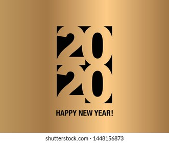 New Year postcard. Happy new year 2020 text  design. 2020 year icon.  2020 year logo text.