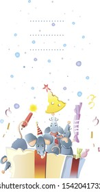 New year postcard  of  mice, rats in a box with a gift,  vector graphic colour illustration on white background