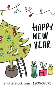 New Year poster - Christmas tree with decorations, gift boxes and hand drawn lettering. Cute New Year vector illustration.