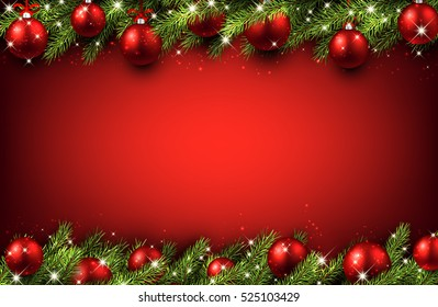 New Year red background with Christmas balls. Vector illustration.