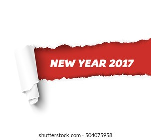 New Year red vector torn edge template and paper roll with rough fringe. Hole in white  realistic vector paper
