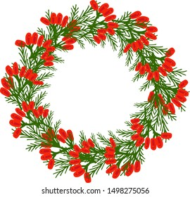 New Year, round frame with space for text. A branch of spruce and red berries, hand-drawn. Congratulatory design vector illustration. Copy space.