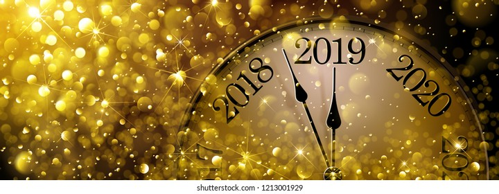 New Year s Eve 2019. Festive Old Clock Vector illustration