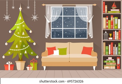 New Year s interior vector. A cozy room decorated for Christmas. Illustration in a flat  style.