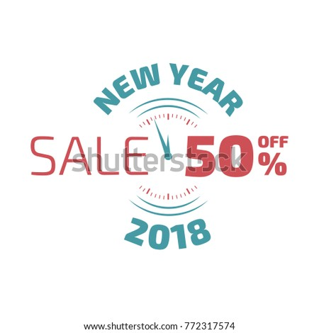 new year sale banner with clock and circle decoration elements