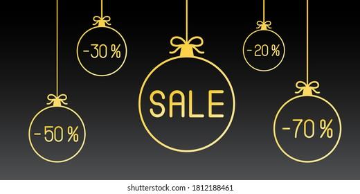 New Year SALE discounts. Vector illustration.