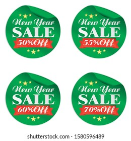 New Year sale green stickers set 50%, 55%, 60%, 70% off.Vector illustration