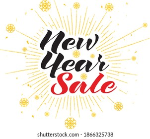 New year sale lettering with snowflakes background