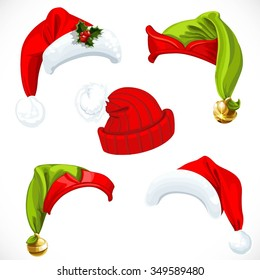 6eecd1c7d85 New year Santa and Elf hats isolated on a white background