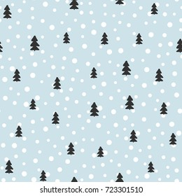 New Year seamless pattern. Christmas trees and round dots drawn by hand. Template for design of postcards, covers, invitations, flyers, clothes. Vector illustration.
