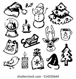 New year season doodle set.Winter wear, sport,gifts,snowflakes,food,animals with other holiday symbols,Christmas elements. Christmas and New Year objects.Hand-drawn with ink. Vector illustration.