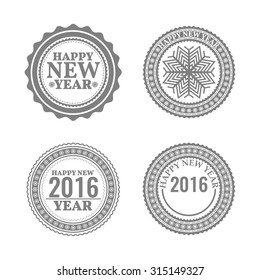 New Year set, labels and emblems in retro style, vector illustration.
