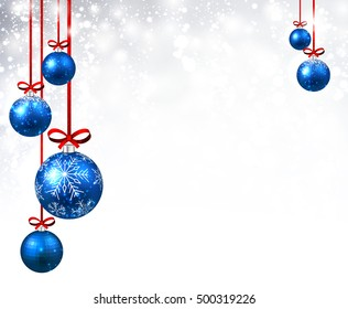 New Year shining background with blue Christmas balls. Vector illustration.